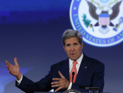 """U.S. Secretary of State Kerry delivers opening remarks at the """"Our Ocean"""" conference at the State Department in Washington"""