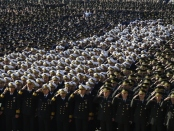 Soldiers stand at attention during a ceremony at the mausoleum of Mustafa Kemal Ataturk, marking the anniversary of his death, in Ankara